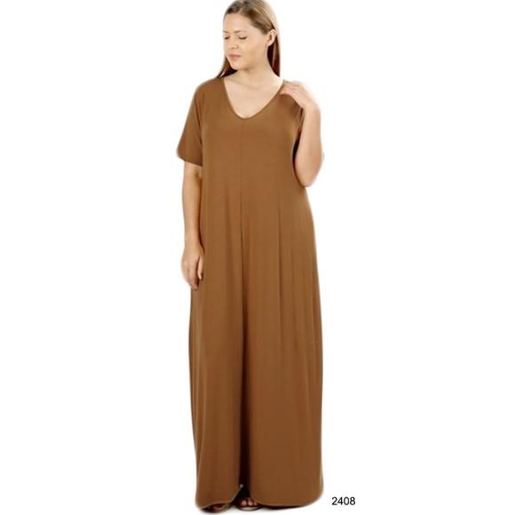 a27c51c19458 Dresses | Taupe Pocket Short Sleeve Oversize Maxi Dress 2xl | Poshmark